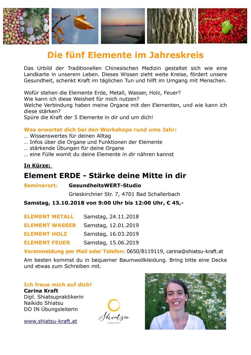 Information und Termine zu den 5-Elemente-Workshops