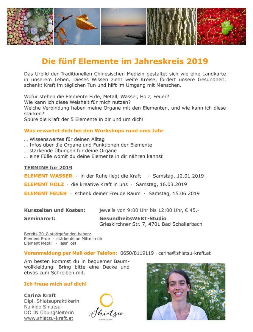 Information und Termine zu den Elemente-Workshops 2019