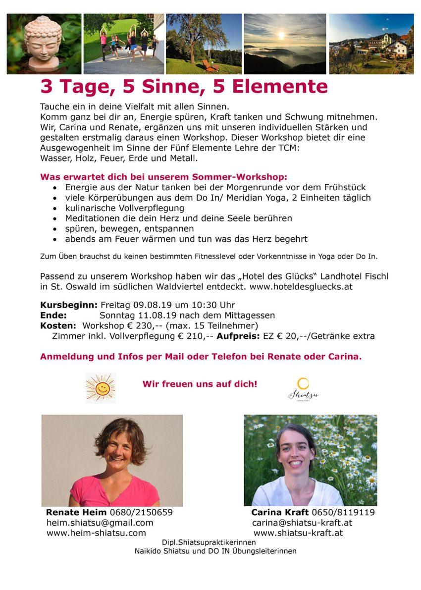 5 Elemente Sommer-Workshop im Hotel des Glücks