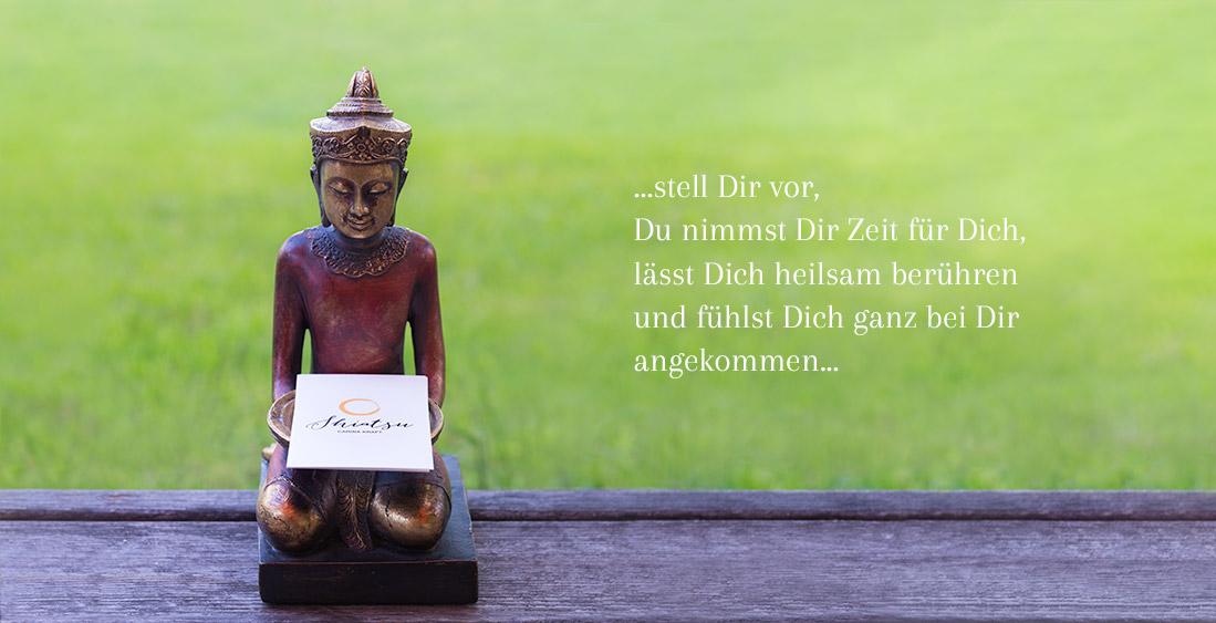 Buddhastatue mit Zitat von Carina Kraft